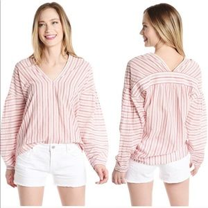 Vince. Red & White striped Variegated blouse